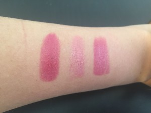 From left to right: matte shade, shimmer shade, both shades combined